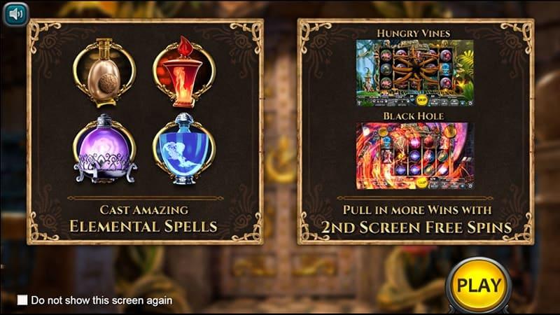 Merlin's Elements Slot Screen