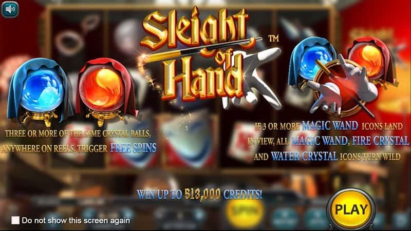 Sleight of Hand Slot Screen